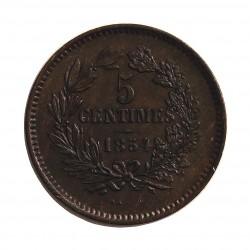 Luxemburgo 5  Cts.  1854. Utrech. AE. 4,8gr. Ø25mm. SC-/SC. (Patina). RARO/A. en esta conservacion. KM. 22.1