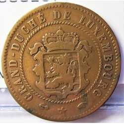 Luxemburgo 5  Cts.  1860. A-(Paris). AE. 4,8gr. Ø25mm. BC/BC+. (Limpiada). RARO/A. KM. 22.2