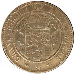 Luxemburgo 10  Cts.  1860. A-(Paris). AE. 10gr. (Baño en Plata). Ø31mm. MBC. RARO/A. KM. 23.2