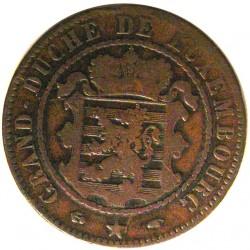 Luxemburgo 10  Cts.  1860. A-(Paris). AE. 9,4gr. Ø31mm. MBC-. KM. 23.2