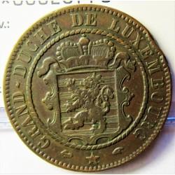 Luxemburgo 10  Cts.  1860. A-(Paris). AE. 9,6gr. Ø30,5mm. MBC. (Golpe cto.). KM. 23.2