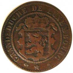 Luxemburgo 10  Cts.  1865. A-(Paris). AE. 9,4gr. Ø31mm. BC+/MBC-. KM. 23.2