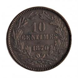 Luxemburgo 10  Cts.  1870. Utrech. (Barth en reverso). AE. 9,5gr. Ø31mm. MBC+. RARO/A. KM. 23.1