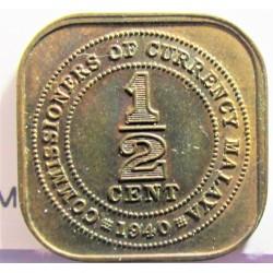 Malaya ½ Cent. 1940. CU. 2,8gr. 18x18m/m. SC-/SC. (Patina oscura). KM. 1