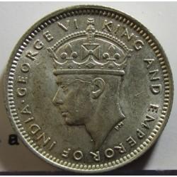 Malaya 10 Cent. 1945. AG. 2,71gr. Ley:0,500. Ø18mm. SC-/SC. (Tono original). KM. 4 a