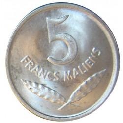 Mali 5 Francos. 1961. AL. 1gr. (Cara de Hipopotamo). (19,5mm). SC. MUY ESCASO/A. KM. 2