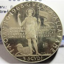 Malta.-Orden de 3 Scudi. 1968. (Prueba). AG. 10gr. Ley:0,925. (Lucha contra el hambre-FAO). Ø33mm. PRF. (Muy lev.marquita)