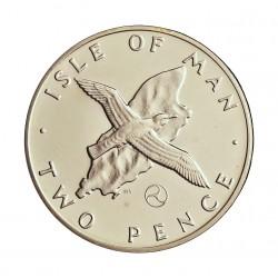 Man.-Isla de 2 Pence. 1979. AG. 6,4gr. Ley:0,925. (Gaviota sobre mapa). Ø25,91mm. PRF. KM. 34 a