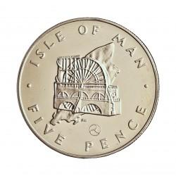 Man.-Isla de 5 Pence. 1979. AG. 6,01gr. Ley:0,925. (Noria). Ø23,59mm. PRF. KM. 35.1 a