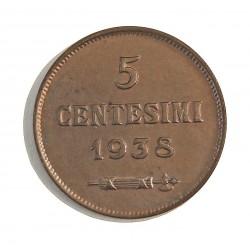 Marino.-San 5 Cts. 1938. R. AE. 3,2gr. Ø19,5mm. SC. (Lev.tono). MUY ESCASO/A. en esta conservacion. KM. 12