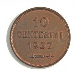 Marino.-San 10 Cts. 1937. R. AE. 5,3gr. Ø22,5mm. SC. (Lev.tono). MUY ESCASO/A. en esta conservacion. KM. 13