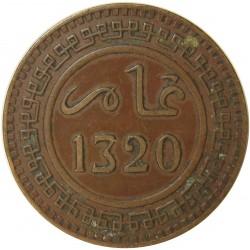 Marruecos 10 Mozumas. 1902. (AH1320). CU. 10gr. Ley:0,000. Ø30mm. EBC/EBC+. KM. 17