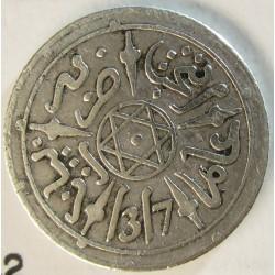 Marruecos ½ Dirham. 1899. (AH.1317). (a)-Paris. AG. 1,456gr. Ley:0,835. Ø15mm. MBC+/EBC-. KM. 9.2