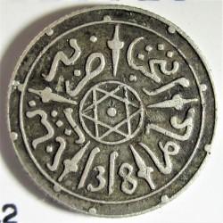 Marruecos ½ Dirham. 1899. (AH.1318). Paris-(bi-Bariz). AG. 1,46gr. Ley:0,835. Ø15mm. MBC-. KM. 9.2