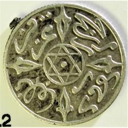 Marruecos ½ Dirham. 1900. (AH.1319). (a)-Paris. AG. 1,456gr. Ley:0,835. Ø15mm. MBC. (Restos de anilla soldada). RARO/A. KM. 9.2