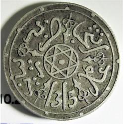 Marruecos 1 Dirham. 1898. (AH.1315). Pa-(Paris). AG. 2,91gr. Ley:0,830. Ø17mm. MBC+. KM. 10.2