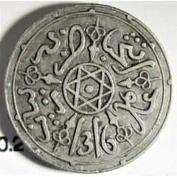 Marruecos 1 Dirham. 1899. (AH.1316). Pa-(Paris). AG. 2,91gr. Ley:0,835. Ø17mm. MBC+. KM. 10.2