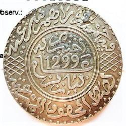 Marruecos 5 Dirham. 1882. (AH-1299). Pa-(Paris). AG. 14,56gr. Ley:0,835. Ø32mm. MBC+. (Agujerito tapado). KM. 7