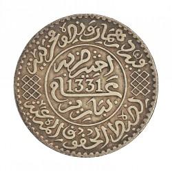 Marruecos ¼ Rial. 1913. (AH.1331). (Pa). AG. 6,25gr. Ley:0,830. Ø24,5mm. MBC+. MUY ESCASO/A. KM. 31