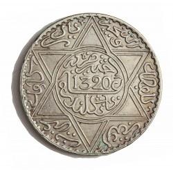 Marruecos 1 Rial. 1902. (AH.1320). (a)-Paris. AG. 25gr. Ley:0,900. (10 Dirhams). Ø37mm. MBC+/EBC-. (Lev.marquitas). KM. 22.1