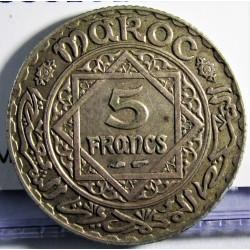 Marruecos 5 Francos. 1928. (AH.1347). (a)-Paris. AG. 5gr. Ley:0,680. Ø23mm. MBC+. KM. 37