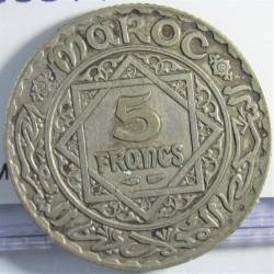 Marruecos 5 Francos. 1933. (AH.1332). AG. 5gr. Ley:0,680. Ø23mm. MBC+. KM. 37