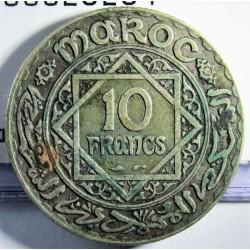 Marruecos 10 Francos. 1928. (AH.1347). (a)-Paris. AG. 10gr. Ley:0,680. Ø27mm. MBC+. KM. 38