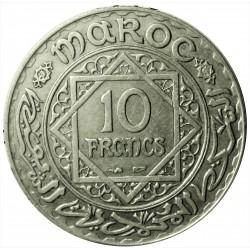 Marruecos 10 Francos. 1933. (AH.1352). AG. 10gr. Ley:0,680. Ø27mm. MBC+. KM. 38