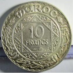Marruecos 10 Francos. 1952. (AH.1352). AG. 10gr. Ley:0,680. Ø27mm. SC-/SC. (Tono original). KM. 38