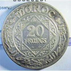 Marruecos 20 Francos. 1928. (AH.1347). (a)-Paris. AG. 20gr. Ley:0,680. Ø35mm. MBC+. KM. 39