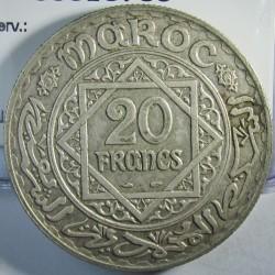 Marruecos 20 Francos. 1933. (AH.1352). (a)-Paris. AG. 20gr. Ley:0,680. Ø35mm. MBC+/EBC-. KM. 39
