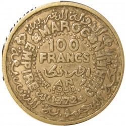 Marruecos 100 Francos. 1953. (AH.1372). AG. 4gr. Ley:0,720. Ø22mm. MBC+. KM. 52