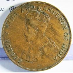 Mauritus.-Isla 5 Cent. 1924. AE. 10gr. (George V). Ø28mm. MBC. KM. 14