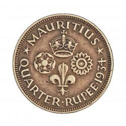 Mauritus.-Isla ¼ Rupia. 1934. AG. 2,92gr. Ley:0,916. (George V). Ø18,5mm. MBC+/EBC-. KM. 15
