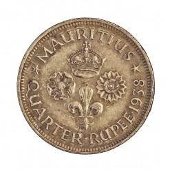 Mauritus.-Isla ¼ Rupia. 1938. AG. 2,92gr. Ley:0,916. (George VI). Ø18,5mm. EBC-/EBC. KM. 18