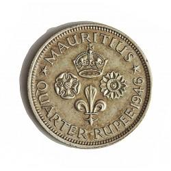 Mauritus.-Isla ¼ Rupia. 1946. AG. 2,92gr. Ley:0,500. (George VI). Ø18,5mm. EBC+/SC-. KM. 18 a