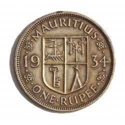 Mauritus.-Isla 1 Rupia. 1934. AG. 11,66gr. Ley:0,916. (George V). Ø30mm. EBC+/SC-. KM. 17