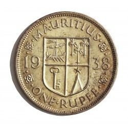 Mauritus.-Isla 1 Rupia. 1938. AG. 11,66gr. Ley:0,916. (George VI). Ø30mm. EBC+/SC-. KM. 19
