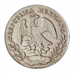 Mejico 8 Reales. 1875. Oª-(Oaxaca). AE. AG. 27,07gr. Ley:0,903. Ø38mm. EBC+/SC-. MUY ESCASO/A. KM. 377.11