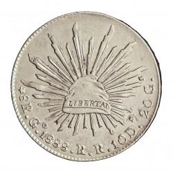 Mejico 8 Reales. 1888. Go.-(Guanajuato). RR. AG. 27,07gr. Ley:0,903. Ø38mm. SC-. KM. 377.8
