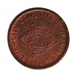 Mejico 5 Ctvo. 1914. Chihuahua. (Ejercito Constitucionalista). CU. 6gr. (Acuñacion Revolucionaria). (Hidalgo del Parral). Ø25m