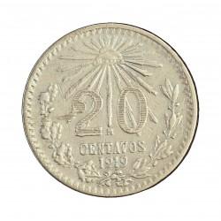 Mejico 20 Ctvo. 1919. Mejico. AG. 3,625gr. Ley:0,800. Ø19mm. MBC-/MBC. MUY ESCASO/A. KM. 436