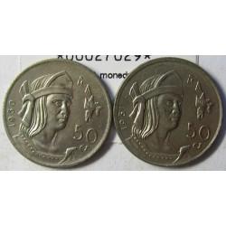 Mejico 50 Ctvo. 1950. 1951. NI. 6,66gr. (Las 2 monedas de la serie. 1950 y 51). Ø25,5mm. SC-/SC. KM. 449