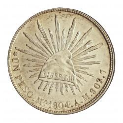 Mejico 1 Pesos. 1904. Mº-(Mejico). A.M. AG. 27,073gr. Ley:0,903. Ø38mm. EBC+/SC-. (Muy lev.marquitas.Tono original). KM. 409.2