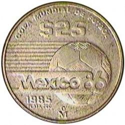 Mejico 25 Pesos. 1985. AG. 7,78gr. Ley:0,720. (Mundial de Futbol-Anagrama). Ø24mm. SC. KM. 497