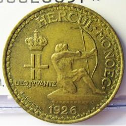 Monaco 1  Francos. 1926. (Poissy). AL/AE. 4gr. Ø22,5mm. MBC+. ESCASO/A. KM. 114