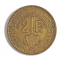 Monaco 2  Francos. 1924. (Poissy). AL/AE. 8,5gr. Ø27mm. EBC/EBC+. (Lev.patina). MUY ESCASO/A. en esta conservacion. KM. 112