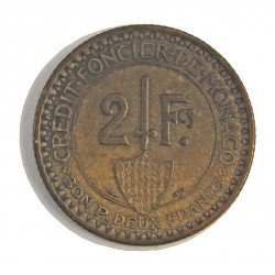 Monaco 2  Francos. 1926. (Poissy). AL/AE. 8,5gr. Ø27mm. MBC+/EBC-. (Lev.patina). ESCASO/A. en esta conservacion. KM. 115