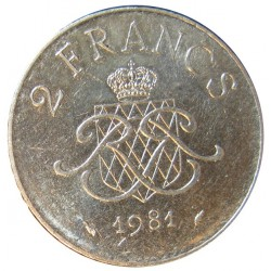 Monaco 2  Francos. 1981. NI. 7,43gr. Ø26mm. EBC+/SC-. KM. 157