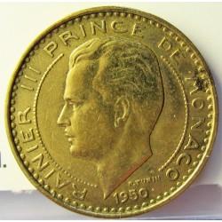 Monaco 10  Francos. 1950. (a)-Paris. AL/AE. 3,05gr. Ø20mm. EBC+. (Limpiada). KM. 130